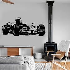 Wall Stickers Race Car Turbo Flames Kids Boys Bedroom Cool Art Decal Vinyl Room