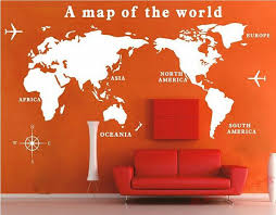 Removable Vinyl Map Wall Decal Tour Wall Art World Wall Sticker Travel Around The World By Customwal Wall Stickers Travel Map Wall Decal World Map Wall Decal