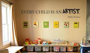 Amazon Com Every Child Is An Artist Pablo Picasso Wall Decal Large Wall Decal Art Kids Playroom Bedroom Game Room Basement Decor Nursery Artist Handmade