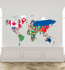 World Map Wall Decal Global World Map Decal With Countries Etsy