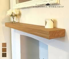 solid oak floating shelf mantle beam