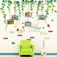 Jade Vine Wall Decal Sticker Green Leaves With Picture Frame Art Decor Always Loving You Quote Sofa Background Wall Applique Wall Decals Stickers Wall Appliquesdecal Sticker Aliexpress