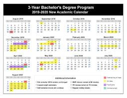 3-Year Bachelor's Degree Calendar ...