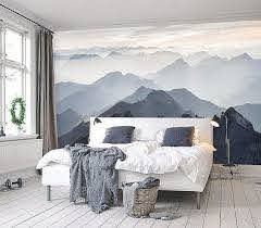 Mystical Mountains Mural Misty Mountain Shadow Hazy Etsy Mountain Mural Wallpaper Walls Decor Small Master Bedroom