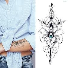 Mandala Lotus Flower Tattoo Mehndi Henna Stickers For Hands Sexy Arab Tattoo Black Sketches Tattoo Designs Waterproof Body Art Wallcorners Art Canvas