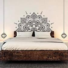 Amazon Com Bedroom Headboard Boho Bohemian Decor Half Mandala Wall Decal Yoga Studio Ornament Mandala Vinyl Wall Sticker 84x42cm Home Kitchen