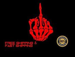 Middle Finger Skull Car Decal Sticker Vinyl Red 4 Ebay