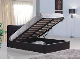 4ft small double brown faux leather bed