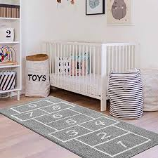 Amazon Com Livebox Kids Play Mat Hopscotch Area Rug Runner 2 X 5 Soft Plush Playroom Carpet Non Slip Childrens Numbers Educational Fun Throw Rugs For Bedroom Nursery Decor Best Shower Gift Gray