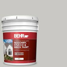 Behr 5 Gal Ms 79 Silver Gray Pebble Satin Interior Exterior Masonry Stucco And Brick Paint 28005 Exterior Flat Interior Brick