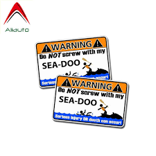 Aliauto 2 X Funny Warning Car Sticker Do Not Screw With My Sea Doo Accessories Pvc Sunscreen Decal For Nissan Suzuki 11cm 6cm Car Stickers Aliexpress