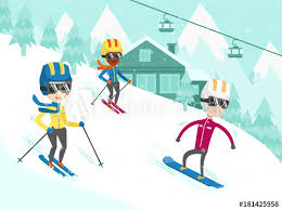 Group of multicultural people have fun while skiing and snowboarding on the  slope. Young african-american and caucasian tourists at ski and snowboard  winter resort. Vector cartoon illustration. - Buy this stock vector