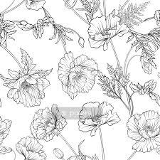 Dekbedovertrek Naadloze Patroon Met Poppy Bloemen In Botanische