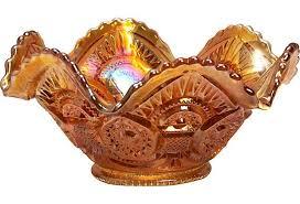 orange carnival glass bowl vintage