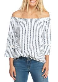 Crown & Ivy beach, Crown & Ivy™ Bell Sleeve Stripe Top White/navy Women's  Clothing