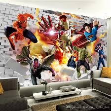 Avengers Wallpaper 3d Photo Wallpaper Hulk Iron Man Superman Custom Wall Mural Boy Kid Bedroom Bricks Wal Boys Bedroom Wallpaper Kids Room Wall Art Marvel Room