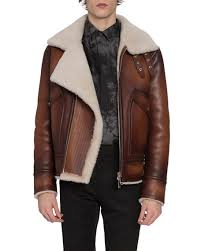 shearling jacket with asymmetrical zip