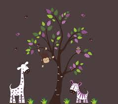 Purple Color Animal Wall Decals Purple Shades And White Animals Nurserydecals4you