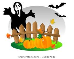 Halloween Background Wooden Fence Pumpkins Ghost Stock Vector Royalty Free 318307040