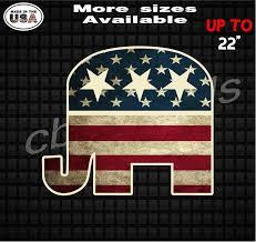 Republican Elephant Vinyl Decal Stickers American Flag Etsy