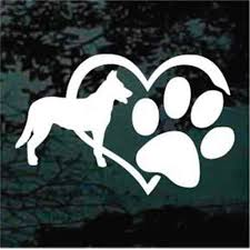 Beauceron Heart Paw Car Decals Window Stickers Decal Junky