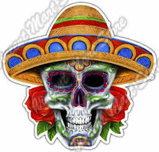 Sugar Skull Sombrero Mexican Mexico Hispanic Car Bumper Vinyl Sticker Decal 4 6 For Sale Online Ebay