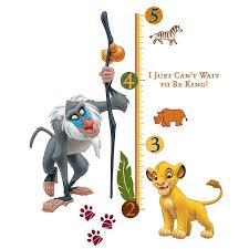 Lion King Wall Decals Kids Growth Chart Rafiki Simba Room Decor Stickers Walmart Com Walmart Com