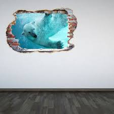 Polar Bear Wall Decal Smashed Wall 3d Effect Under The Sea Etsy Bear Wall Decal Wall Stickers Bedroom Kids Bedroom Decor