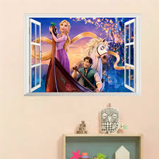 Cartoon Rapunzel Wall Stickers For Kids Rooms Girl S Room Decor 3d Window Wall Decals Diy Adesivo De Parede Poster Children Gift Sticker For Kids Room Wall Stickers For Kidswall Sticker Aliexpress