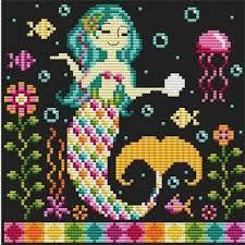 mermaids cross stitch pattern english