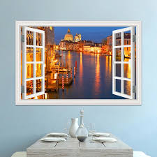 Wall Art Water Town Landscape 3d Window View Sticker Decal Vinyl Mural Wallpaper Removable Wall Sticker Pvc Room Decor Wall Stickers Aliexpress