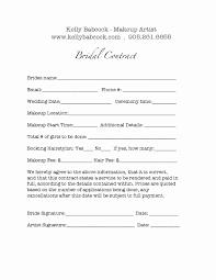 wedding makeup contract sle