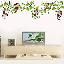 Bibitime 5 Monkeys And Vine Wall Stickers Home Decals Decor Mural Decorative Nursery Super For Girls And Bo Childrens Bedrooms Wall Stickers Home Wall Stickers