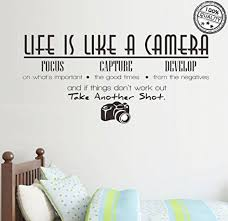 Jiarui Wall Stickers Life Is Like A Camera Vinyl Wall Decal Words Quote Wall Art Sticker Home Decor For Bedroom Living Room 26 77 X 13 78 In Black Buy Online