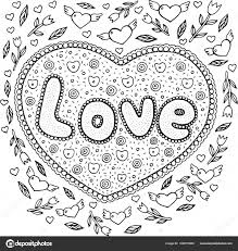 Coloring Page For Adults With Mandala And Love Word Doodle Lett