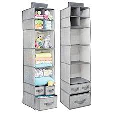 Mdesign Soft Fabric Over Closet Rod Hanging Storage Organizer With 7 Shelves And 3 Removable Drawers For Child Kids Room Or Nursery Textured Print 2 Pack Gray B06wvn3ymm Amazon