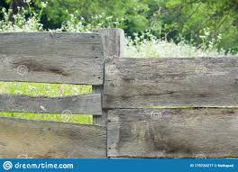 Old Rustic Wooden Fence With Flowers And Greenery In The Background Stock Image Image Of Photography Wood 179720217