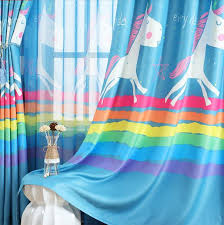 Baby Blue Rainbow Unicorn Curtains For Kids Bedroom