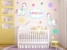 Wall Decals Girls Bedroom Pony Wall Decals Girls Name Etsy