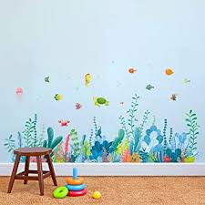 Amazon Com Decalmile Under The Sea Seaweed Wall Corner Decals Fish Jellyfish Ocean Grass Baseboard Skirting Line Wall Stickers Baby Bedroom Bathroom Living Room Wall Decor Finished Width 48 Inches Kitchen Dining