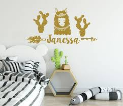 Llama Wall Decals Boys Name Vinyl Stickers Personalized Name Llama Alpaca Mountains Art Decorations For Bedroom