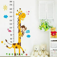 Height Chart Wall Sticker Cartoon Animals Height Measure For Kids Rooms Mbrouka