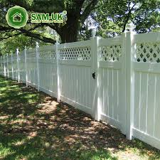 China 5 Foot Semi Private Vinyl Fencing Lattice Uneven Ground Photos Pictures Made In China Com