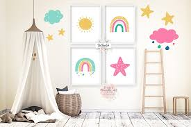 4 Boho Rainbow Pink Yellow Wall Art Print Sun Star Baby Nursery Girl R Pink Forest Cafe