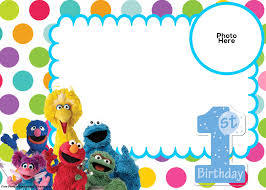Free Sesame Street 1st Birthday Invitation Template Invitaciones