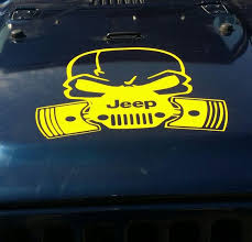 Jeep Hood Vinyl Decal Large Sticker Weather Resistant Outdoor Vinyl Skull Mask For The Hood Large Decal Vinyl Decals Skull Decal