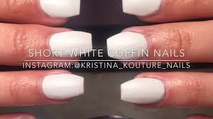 short white coffin nails kristina