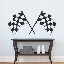 Racing Flags Boys Room Decal Sticker Kids Bedroom Wall Mural Self Adhesive Wall Decals Trendy Wall Designs