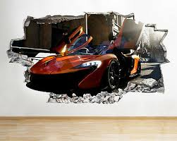 Wall Stickers Sport Car Explosion Fire Boys Smashed Decal 3d Art Vinyl Room C079 Home Garden Decor Decals Stickers Vinyl Art