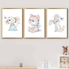 Phim hoạt hình Thỏ Mèo Chuột Bướm Bắc Âu Áp Phích Và Bản In Tường Nghệ  Thuật Vẽ Tranh Nursery Tường Hình Ảnh Bé Trẻ Em Phòng Trang Trí Nội Thất|